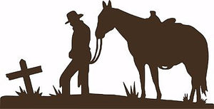 "Cowboy Horse Cross Christian Western Rodeo Car Truck Window Vinyl Decal Sticker - 5"" Long Edge"