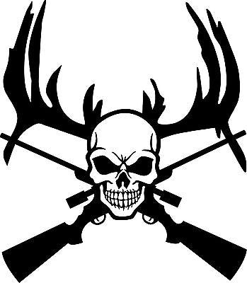 "Deer Reaper Skull Gun Hunting Car Truck Window Wall Laptop Vinyl Decal Sticker - 9"" Long Edge"