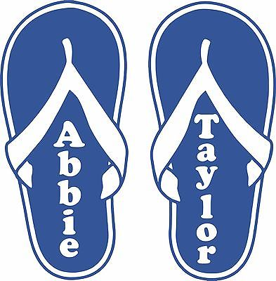 Flip Flops Custom Name Girl Car Truck Window Wall Laptop Vinyl Decal Sticker - 10""