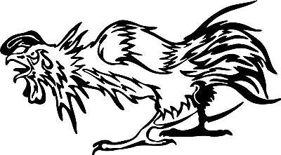 "Fighting Chicken Rooster Spurs Car Truck Window Laptop Sign Vinyl Decal Sticker - 7"" Long Edge"