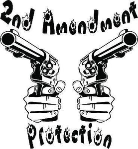 "2nd Amendment Hand Gun Protection Car Truck Window Laptop Vinyl Decal Sticker - 12"" long edge"