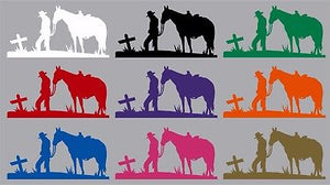 "Cowboy Horse Cross Christian Western Rodeo Car Truck Window Vinyl Decal Sticker - 8"" Long Edge"