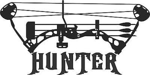 "Bow Hunter Hunting Deer Whitetail Buck Car Truck Window Vinyl Decal Sticker - 18""  Long Edge"