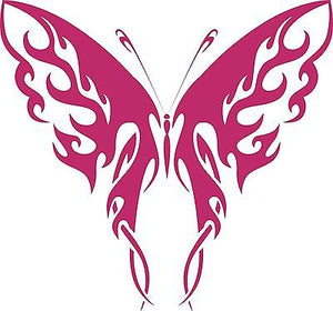 "Butterfly Tribal Flame Design Truck Car Window Laptop Vinyl Decal Sticker - 7"" Long Edge"