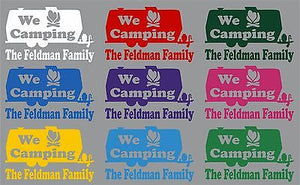 "Large Camping RV Camper Custom Name Travel Trailer Window Vinyl Decal Sticker - 21"" wide"