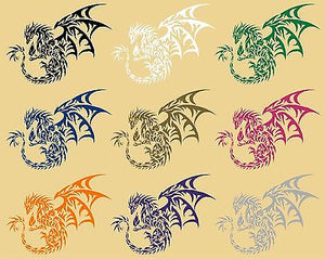 "Dragon Tribal Mythical Creature Car Truck Window Laptop Vinyl Decal Sticker - 12"" long edge"