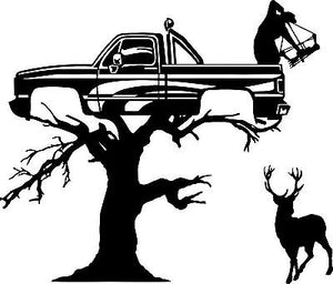 "Deer Bow Hunter Redneck Tree Stand Car Truck Window Laptop Vinyl Decal Sticker - 16"" Long Edge"