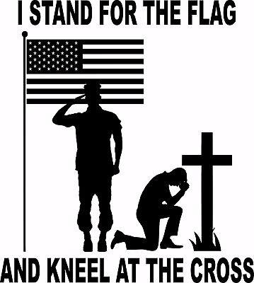 "American Flag Soldier Christian Cross Freedom Window Laptop Vinyl Decal Sticker - 12"" Long Edge"
