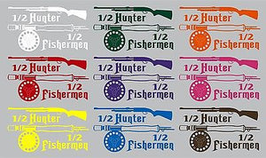 "Half Hunter Fisherman Fishing Hunting Gun Truck Window Vinyl Decal Sticker - 13"" Long Edge"
