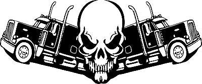 "Skull Trucker 18 Wheeler Truck Driver Road Car Boat Window Vinyl Decal Sticker - 16"" x 7"""