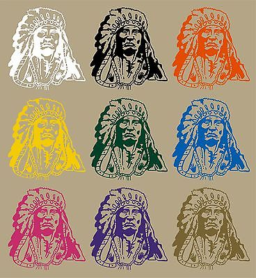 "Indian Native American Chief Western Car Truck Window Vinyl Decal Sticker - 9"" Long Edge"