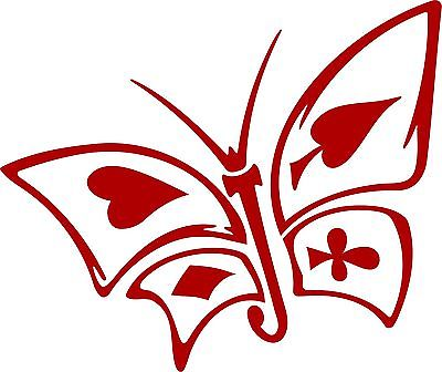 "Butterfly Cards Heart Club Diamond SpadesTruck Car Window Vinyl Decal Sticker - 5"" Long Edge"