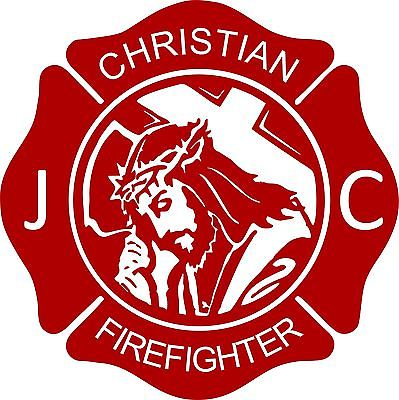 "Cross Jesus Christ Firefighter Christian Fireman Car Truck Window Vinyl Decal - 8"" Long Edge"
