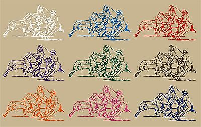 "Cowboy Team Roping Calf Western Rodeo Car Truck Window Vinyl Decal Sticker - 9"" Long Edge"