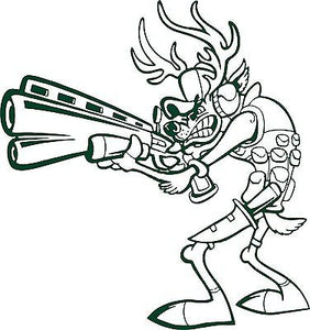 "Deer Hunting Hunter Gun Knife Car Truck Window Laptop Vinyl Decal Sticker - 14"" Long Edge"