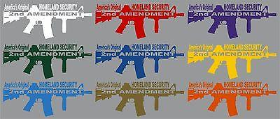 "2nd Amendment Rifle Machine Gun Car Truck Window Wall Laptop Vinyl Decal Sticker - 11"" Long Edge"