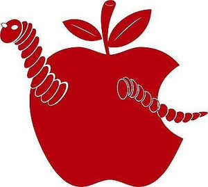 "Apple Fruit Food Worm Car Truck Window Laptop Vinyl Decal Sticker - 10"" Long Edge"