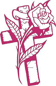"Cross Rose Flower Christian Christ Car Truck Window Laptop Vinyl Decal Sticker - 13"" Long Edge"