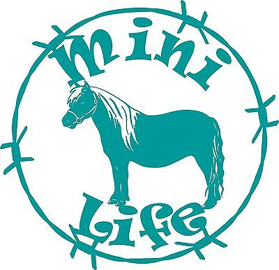 "Mini Life Miniature Horse Barb Wire Car Truck Trailer Window Vinyl Decal Sticker - 10"" Long Edge"