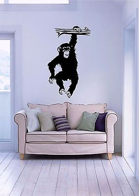 "Chimp Monkey Chimpanzee Ape Animal Wall Decor Mural Vinyl Decal                - 12"" x 20"""