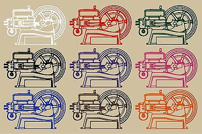 "Hit and Miss Engine Tractor Farm Equipment Car Truck Window Vinyl Decal Sticker - 11"" Long Edge"