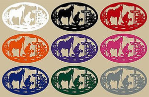 "Christian Cowboy Horse Cross Car Truck Window Laptop Sign Vinyl Decal Sticker - 10"" Long Edge"
