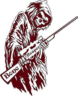 "Bone Grim Reaper Gun Rifle Hunting Deer Car Truck Window Vinyl Decal Sticker - 8"" Long Edge"