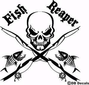 "Fish Reaper Skull Fishing Rod Car Boat Water Truck Window Vinyl Decal Sticker - 16"" x 16"""