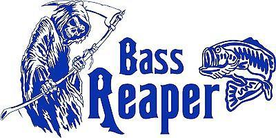 "Bass Grim Reaper Fish Fishing Car Truck Window Vinyl Decal Sticker - 18"" x 9"""