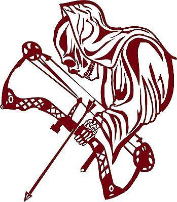 "Archery Grim Reaper Bow Arrow Hunting Hunter Window Laptop Vinyl Decal Sticker - 9"" Long Edge"