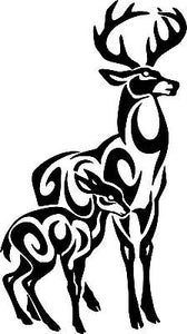"Deer Tribal Buck Fawn Hunting Hunter Car Truck Window Vinyl Decal Sticker - 11"" Long Edge"