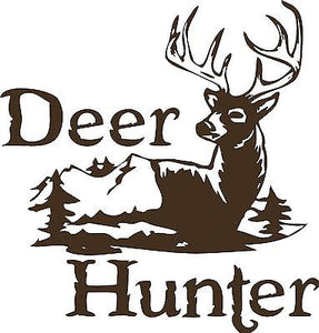 "Deer Hunter Gun Bow Mountain Car Truck Window Laptop Vinyl Decal Sticker - 8"" Long Edge"