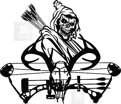 "Grim Reaper Hunter Bow Hunting Deer Skull Car Truck Window Vinyl Decal Sticker - 14"" Long Edge"