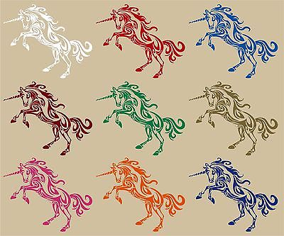 "Fantasy Tribal Unicorn Magic Horse Car Truck Wall Laptop Vinyl Decal Sticker - 10"" Long Edge"