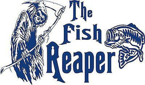 "Bass Fish Grim Reaper Fishing Boat Car Truck Window Vinyl Graphics Decal Sticker - 15"" x 9"""