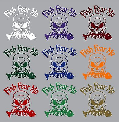 "Fish Fear Me Reaper Skull Skeleton Car Boat Truck Window Vinyl Decal Sticker - 12"" x 12"""