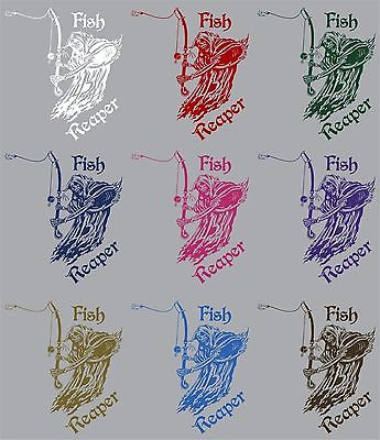 "Fish Grim Reaper Fishing Rod Hook Car Boat Truck Window Vinyl Decal Sticker - 11"" Long Edge"