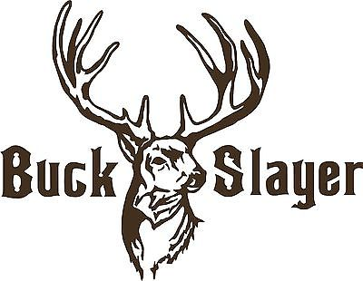 "Buck Slayer Hunting Deer Bow Gun Whitetail Car truck Window Vinyl Decal Sticker - 7"" Long Edge"