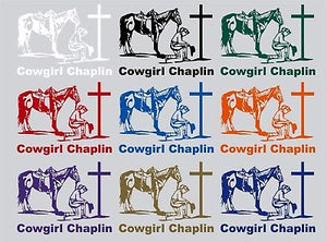Chaplin Cowgirl Praying Horse Car Truck Window Laptop Vinyl Decal Sticker - 10""