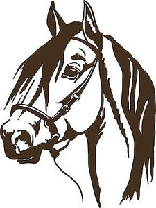 "Horse Head Cowboy Rodeo Western Car Truck Trailer Window Vinyl Decal Sticker - 19"" Long Edge"