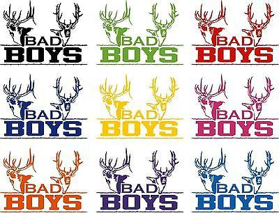 "Bad Boys Hunting Deer Buck Whitetail Car Boat Truck Window Vinyl Decal Sticker - 9"" Long Edge"