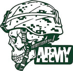 "Army Military Police Soldier Skull Camo Car Truck Window Vinyl Decal Sticker - 6"" Long Edge"