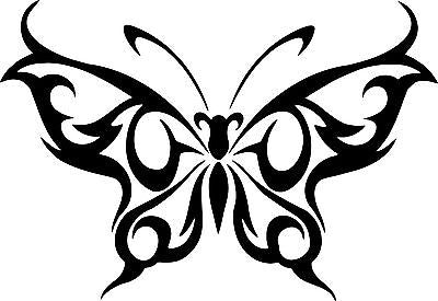 "Butterfly Tribal Design Truck Car Tattoo Window Laptop Vinyl Decal Sticker - 11"" Long Edge"