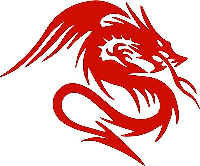 "Dragon With Wings Tail Fantasy Beast Car Truck Window Laptop Vinyl Decal Sticker - 12"" Long Edge"