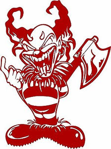 "Clown Evil Jester Joker Axe  Weapon Laptop Vinyl Decal Sticker - 10"" Long Edge"