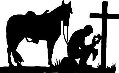 "Praying Cowboy Horse Cross Christian Car Truck Window Laptop Vinyl Decal Sticker - 7"" long edge"
