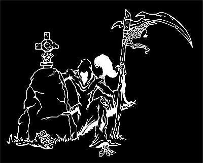 "Grim Reaper Grave Crow Scythe Monster Car Truck Window Vinyl Decal Sticker - 12"" Long Edge"