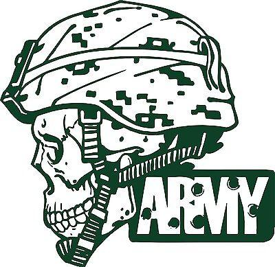 "Army Military Police Soldier Skull Camo Car Truck Window Vinyl Decal Sticker - 12"" Long Edge"