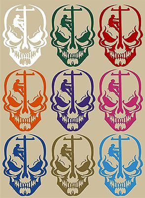 "Skull Lineman Electrician Power Pole Car Truck Window Laptop Vinyl Decal Sticker - 9"" long edge"