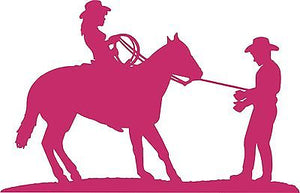 "Cowgirl Cowboy Horse Rodeo Western Car Truck Window Laptop Vinyl Decal Sticker - 10"" long edge"